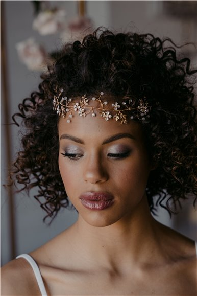 Rose Gold bridal hair vine