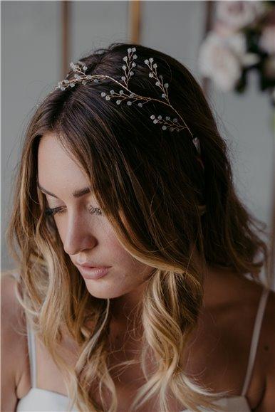 Rhinestone pearls hair vine